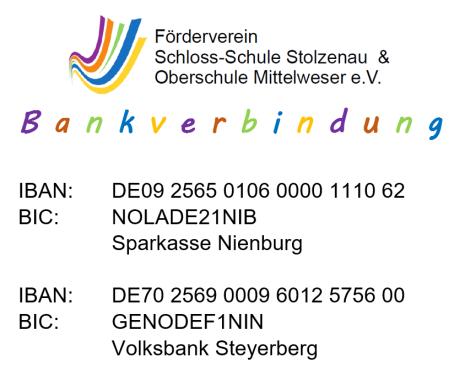 Bankverbindung Förderverein©Oberschule Mittelweser