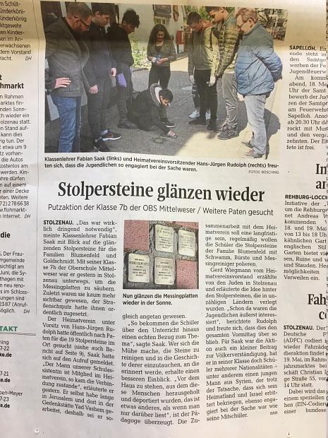 Stolpersteine Harke©Oberschule Mittelweser